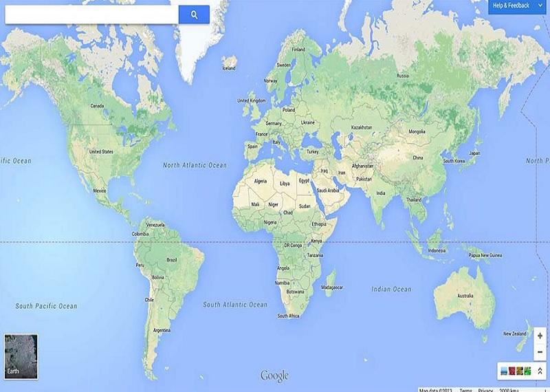 Гугл Мапс, карта мира