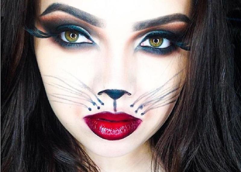 женщина-кошка, образ на Хэллоуин, макияж кошки на Хэллоуин