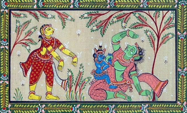 Krishna fighting against Putna src: Google search