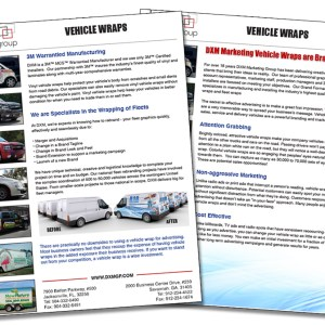 Vehicle Wrap Sales Sheet