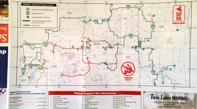 Kenosha County Wisconsin Snowmobile Trail Map 2013-2015