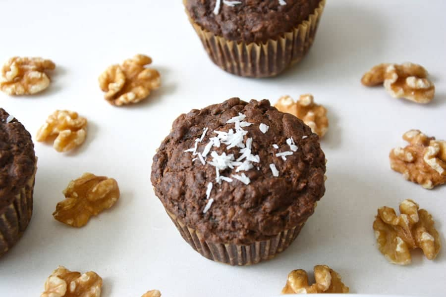 Cacao and Coconut Zucchini Muffins