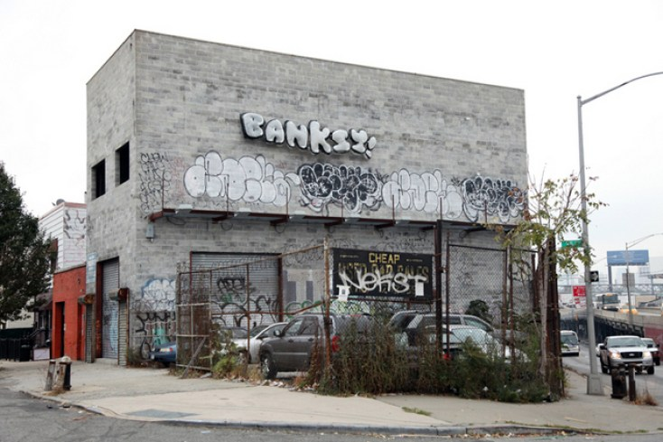 Banksy-Queens-Inflatable-Throw-Up-NYC-Long-Island-Expressway-2