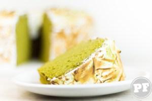 Chiffon Cake de Matcha com Merengue Suíço por PratoFundo.com