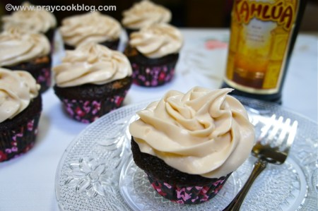 Chocolate Chip Mousse Cupcakes with Kahlua Cream Frosting