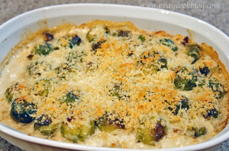 baked au gratin sprouts