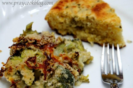 broccoli au gratin single cornbread