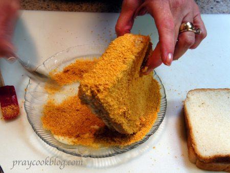 corn flake crumbs on sandwich