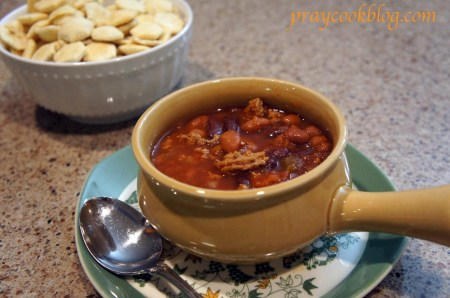 chili in soup bowl