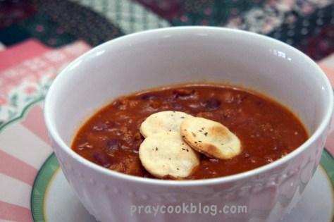homemade crackers on chili