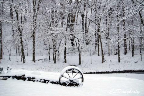 wagon snow trees