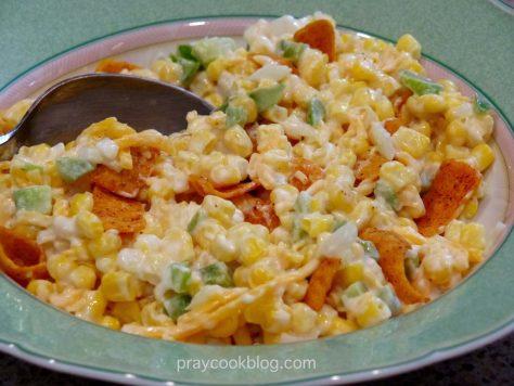 Chili Cheese Corn salad upclose