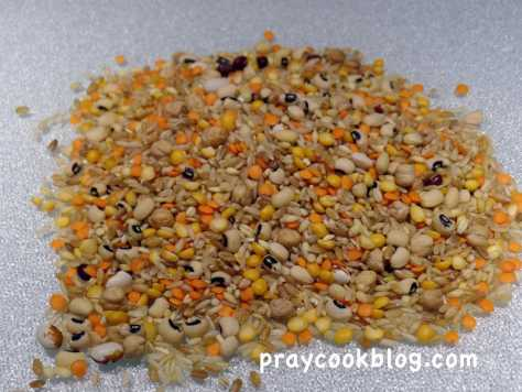 pile of dried beans rice peas