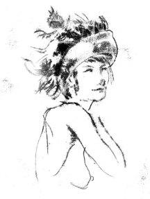 La Dame au Chapeau à Plumes (monotype)