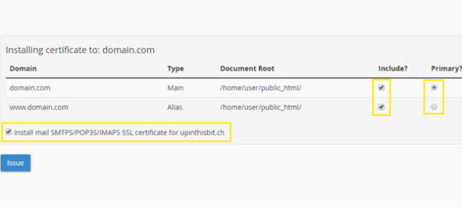 Let's Encrypt for cPanel options.