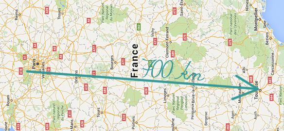 Prendre le temps - carte de France - Itinéraire déménagement