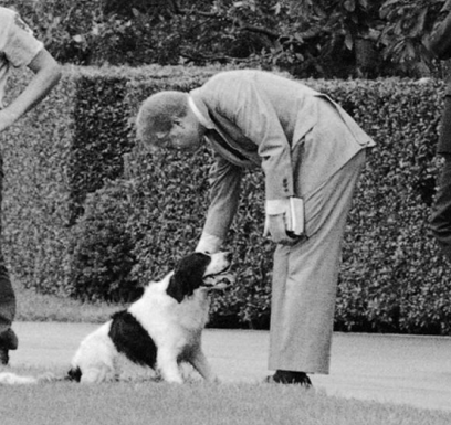 President Carter pets Grits.