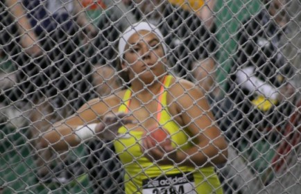 Stamatia Scarvelis prepares to throw in final round of shot put competition at Simplot Games, Pocatello Idaho