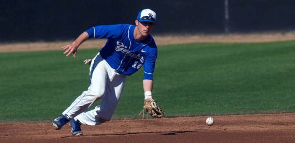 UCSB's Brandon Trinkwon charges a grounder in the first inning of the second game on Saturday.