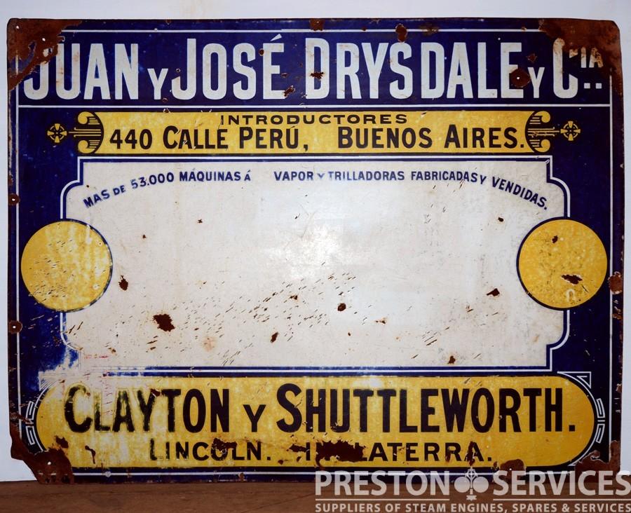 CLAYTON & SHUTTLEWORTH Enamel Sign