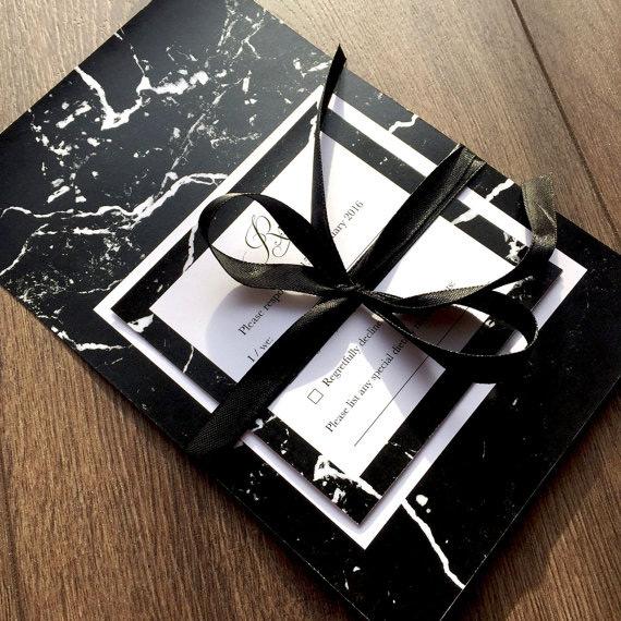 Beautiful black wedding stationery