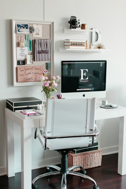 {Home Sunday} Room Redo: Crisp White Home Office