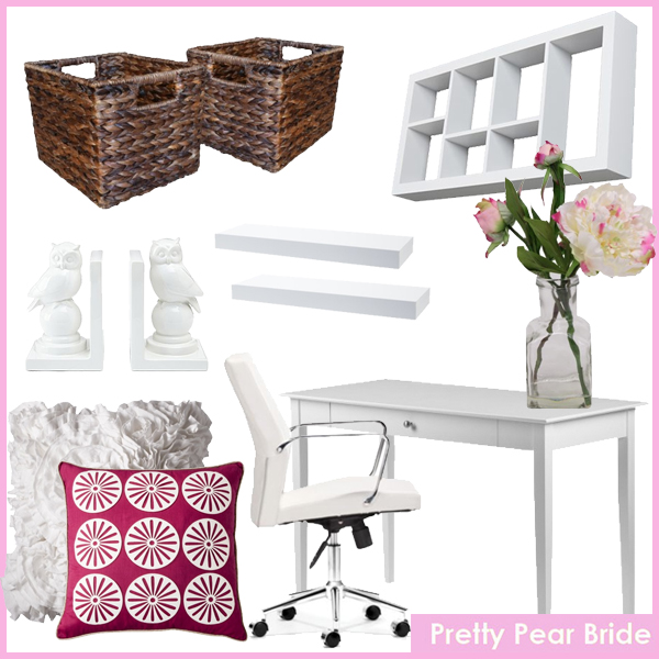 "Images clockwise from top right: Jensen Display Shelf; jcpenny, $44.99 // Floral Table Arrangement Peony 9.5""; Target, $12.99 // Dolce Desk - White; Target, $139.99 // Holt Low-Back Office Chair - White; jcpenny, $325 // Room 365™ Burst Flower Pillow - 18x18""; Target, $24.99 // Xhilaration® Jersey Ruffle Decorative Pillow - Sour Cream (16x16""); Target, $24.99 // Set of 2 Ceramic Owl Bookends; jcpenny, $24.99 // Threshold™ Set of 2 Global Storage Cube - Dark (Small); Target, $25.99 // Modern Shelf Collection; Target, $9.99-$39.99"