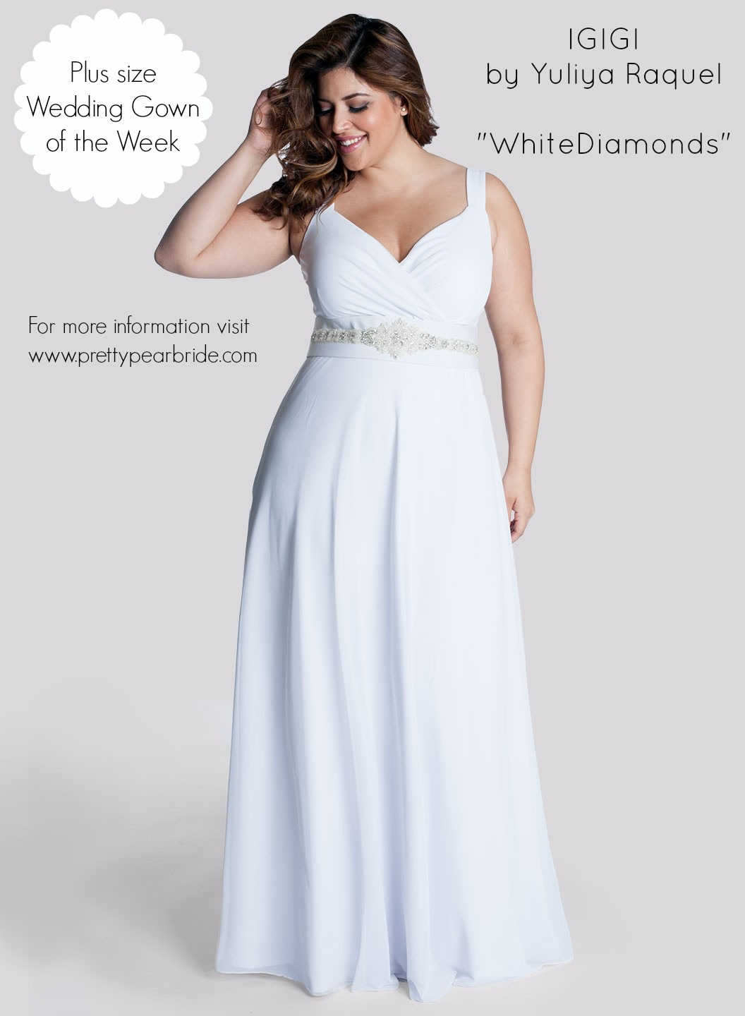 s plus+size+wedding+dress+of+the+week flowy wedding dresses Plus Size Wedding Dress of the Week IGIGI White Diamonds