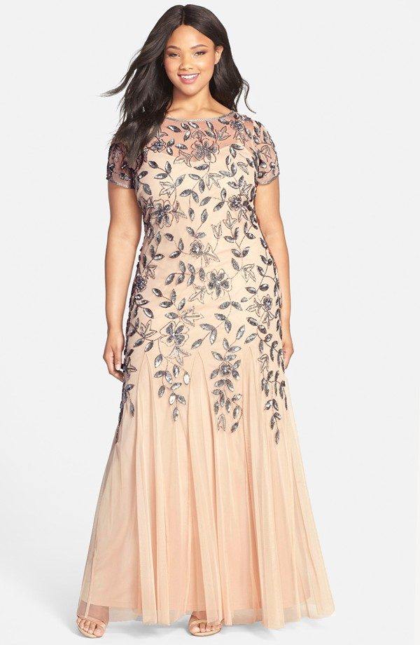 {Plus Size Bridal Fashion Find} Floral Beaded Godet Gown    Adrianna Papell