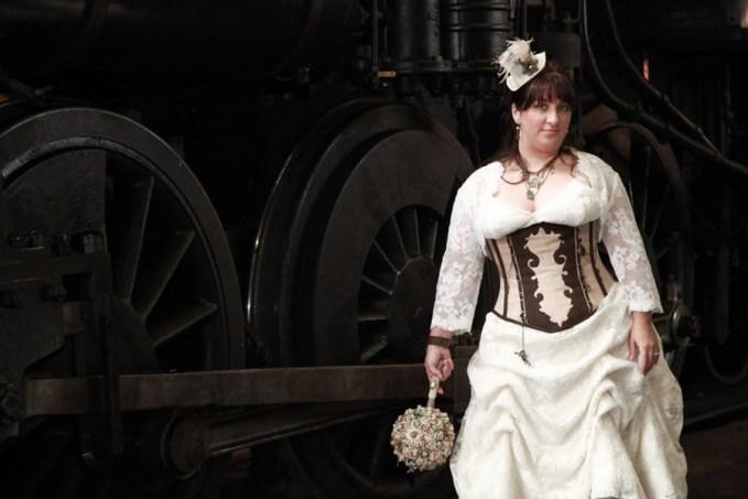 Steampunk Victorian Trainyard Bridals with a plus size bride