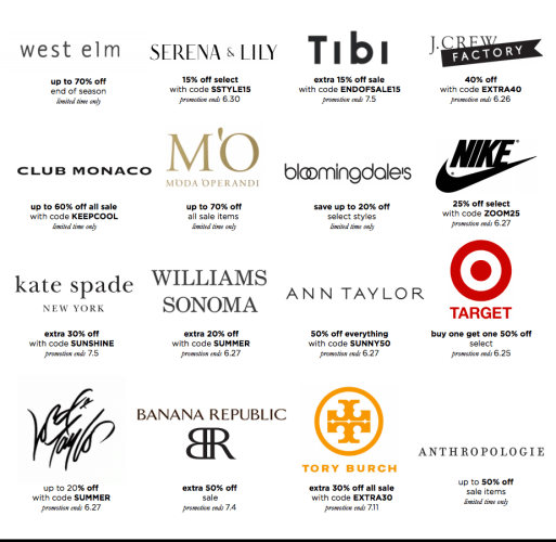 weekend deal alerts, target, lord and taylor, west elm, williams sonoma, tory burch, banana republic, anthropologie, Kate spade, nike, jcrew factory,