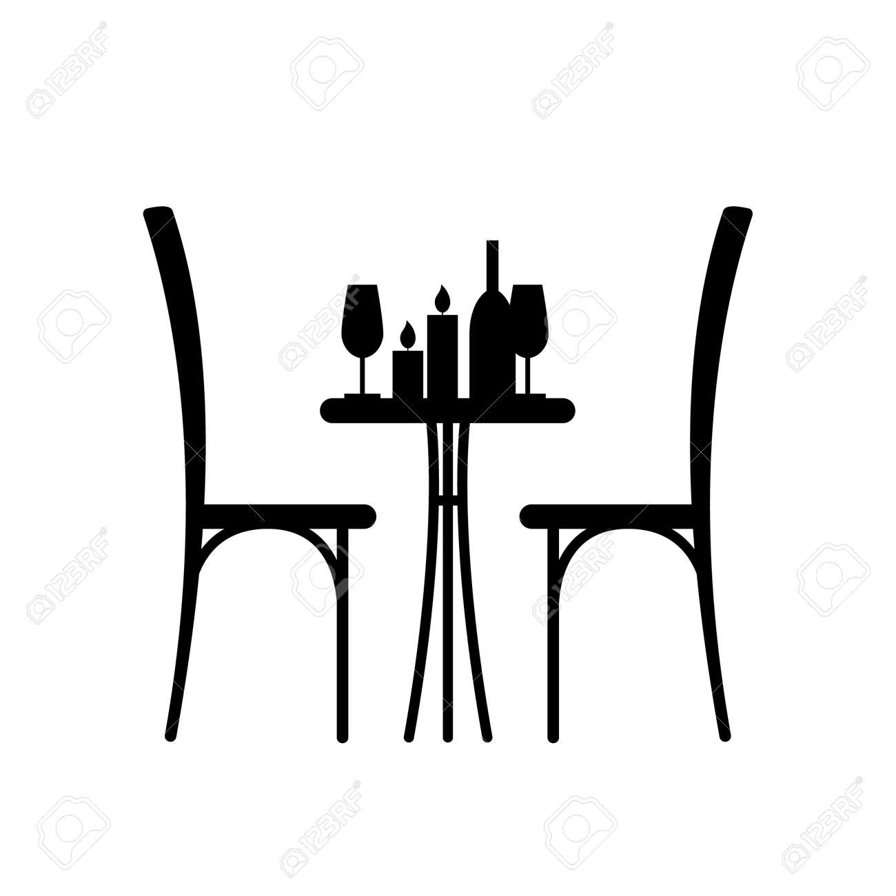 Graceful Candles On Table Chair Silhouette Chair Silhouette Ofa Table Vector Wine A Table Candles On Table Glass And A Chairs Beside Wine Wine houzz 01 Cafe Table And Chairs