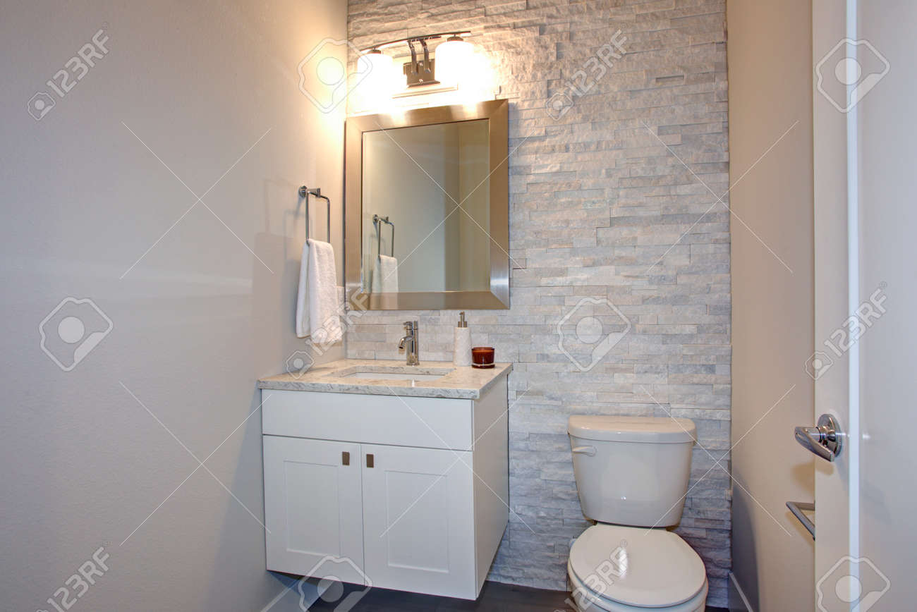 Modern Bathroom Features Stone Accent Wall Framing A Bathroom Vanity Under A Bathroom Features Stone Accent Wall houzz-03 Gray Bathroom Vanity
