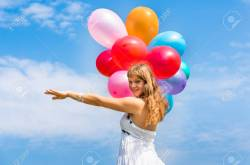 Elegant Balloons Stock Happy Young Lady Celebrates Birthday Playing Happy Young Lady Celebrates Birthday Balloons Stock Happy Birthday Young Lady Images Happy Birthday Young Lady Playing Spanish