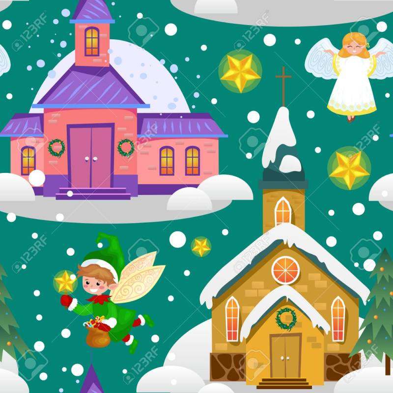 Top Green Tree Under Snow Christianity Happy New Year Card Church ...
