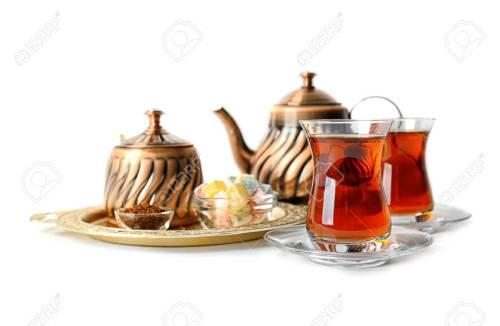 Natural Glasses Tray Turkish Tea Set How To Use Glasses Stock Photo Turkish Tea Metal Teapot Stock Turkish Tea Set Metal Teapot Isolatedon Turkish Tea