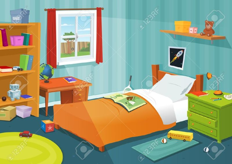 Ilration Of A Cartoon Children Bedroom With Boy Or Girl Lifestyle Elements Toys Bed