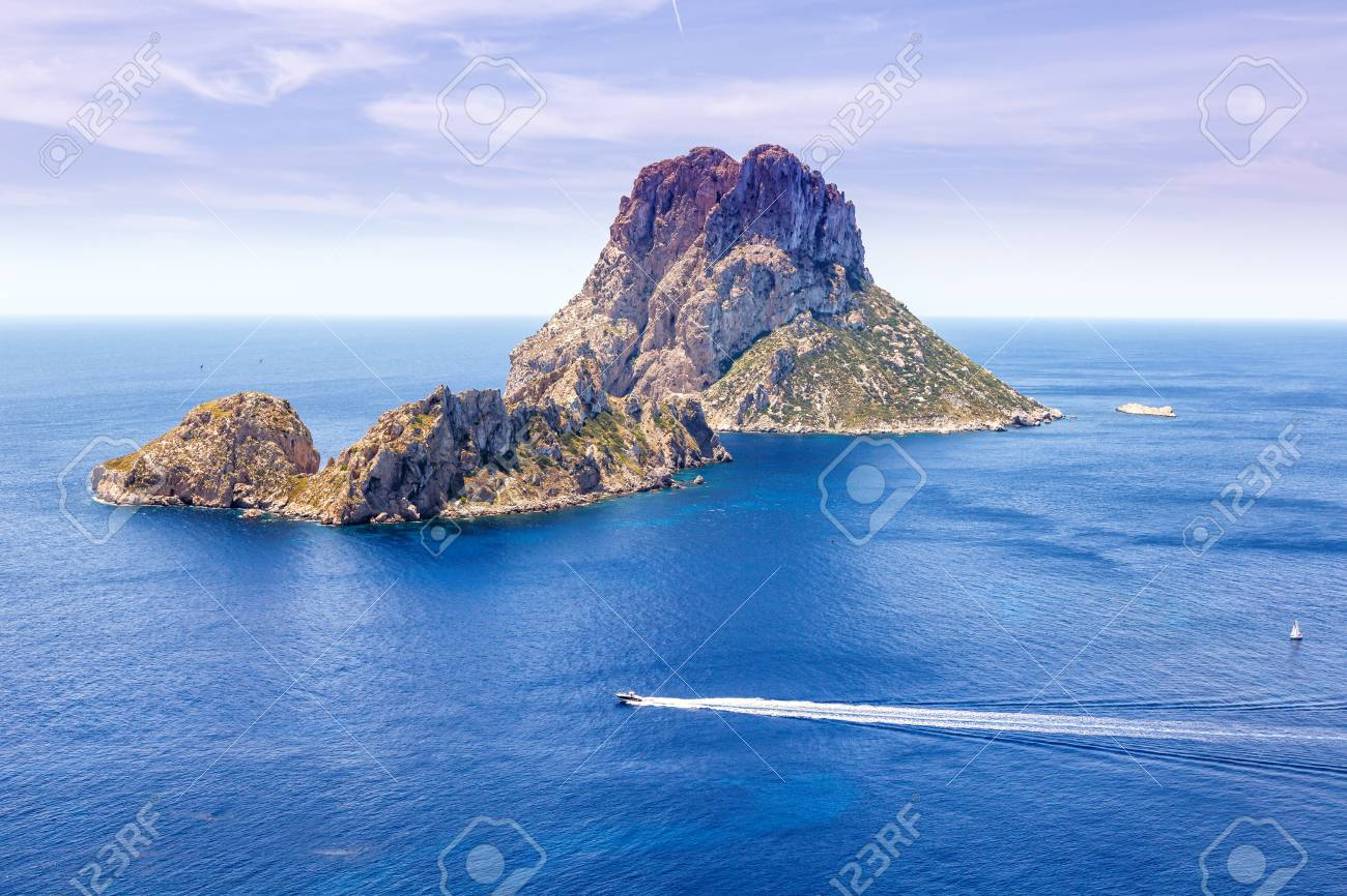 Es Vedra Rock Ibiza Island Spain Travel Mediterranean Sea Boat     Es Vedra rock Ibiza island Spain travel Mediterranean Sea boat vacation  traveling Stock Photo   90018678