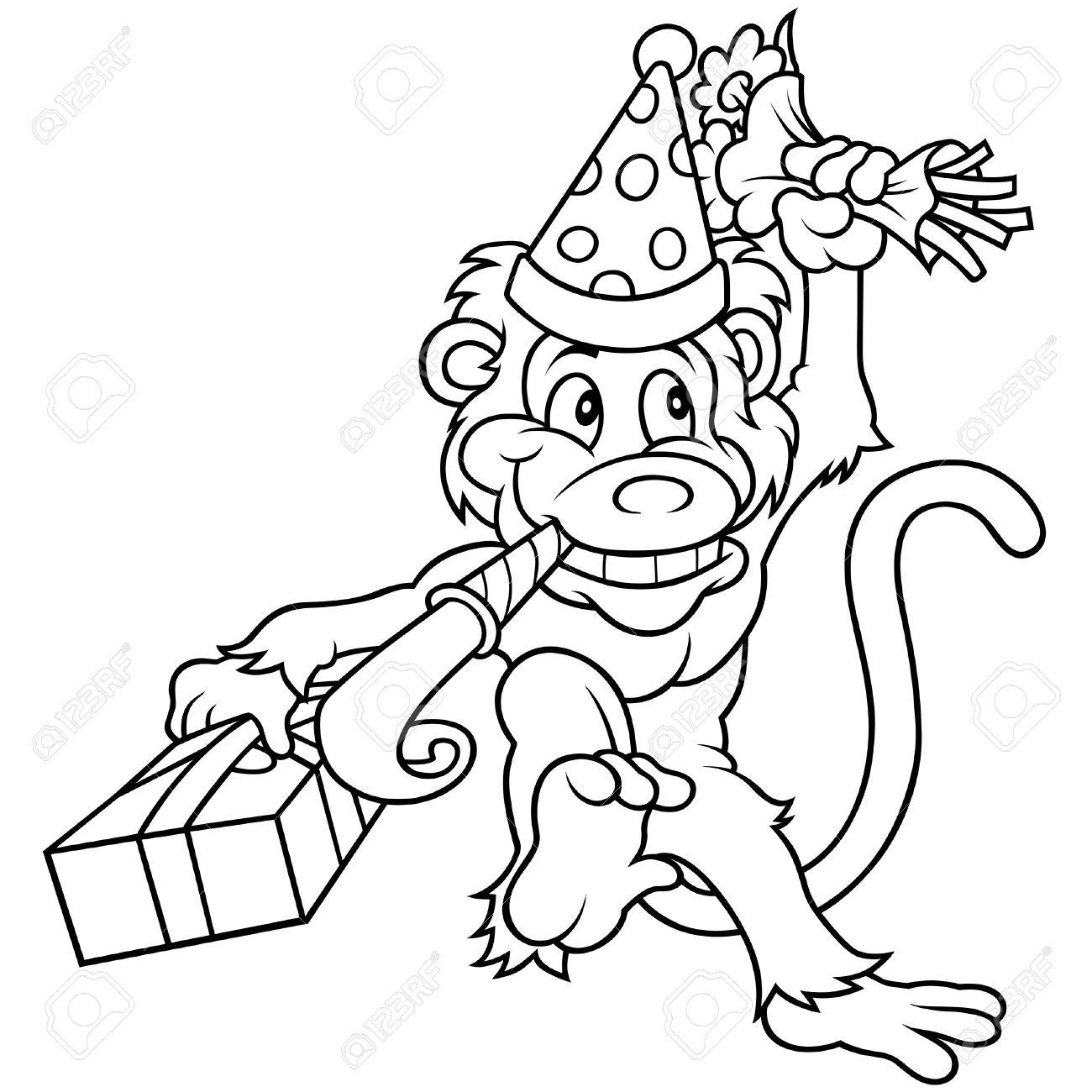 Новогодняя картинка раскраска с обезьянкой