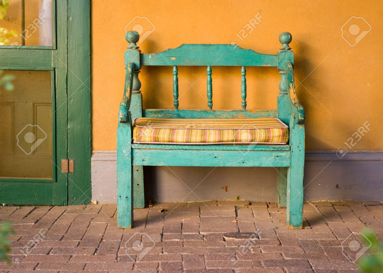 Antique Wooden Bench Outside Of A Garden In Santa Fe NM Stock Photo   47339996 Antique Wooden Bench46