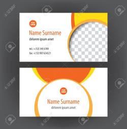 Chic Designer Horizontal Personal Businesscards Or Visiting Card Orange Stock Set Designer Horizontal Personal Set Vector Professional Vector Professional