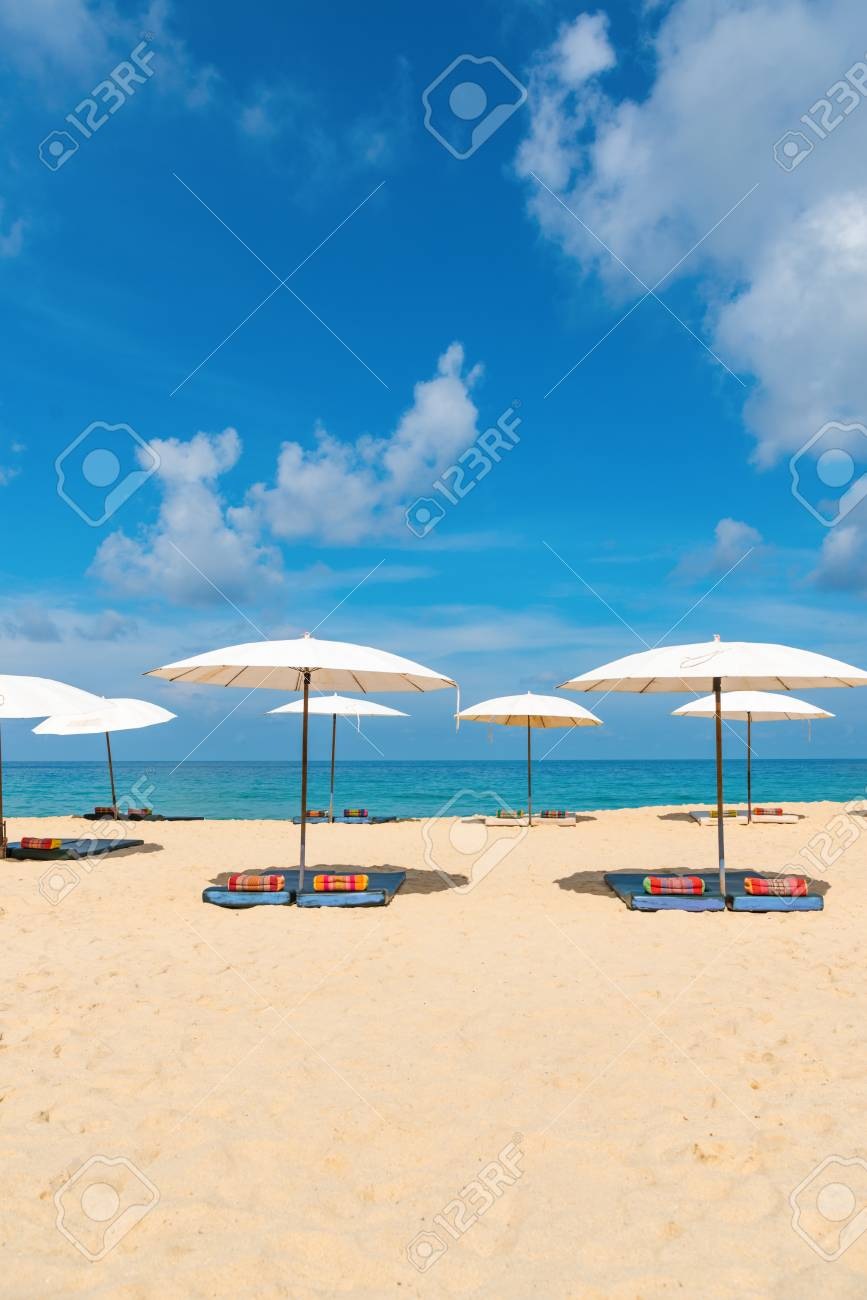 Luxurious A Bit Cloudy Sky On Background Beach Parasol Sunshade On Sand Beach Stock Blueclear Sea Stock Photo Beach Parasol Sunshade On Sand Beach baby Beach Sun Shade
