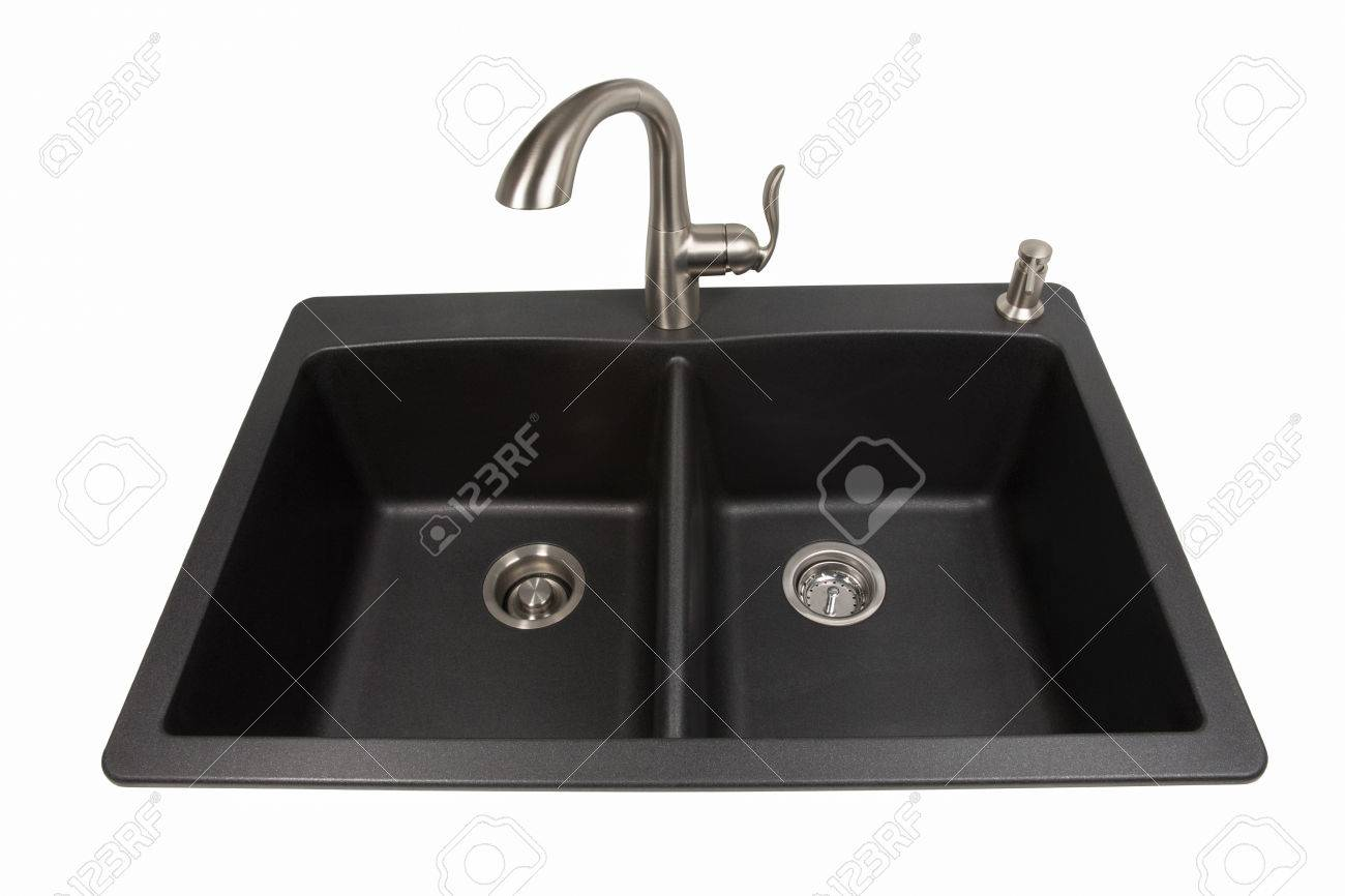 39369729 Modern kitchen sink made of black synthetic granite with brushed stainless steel faucet and soap dis Stock Photo