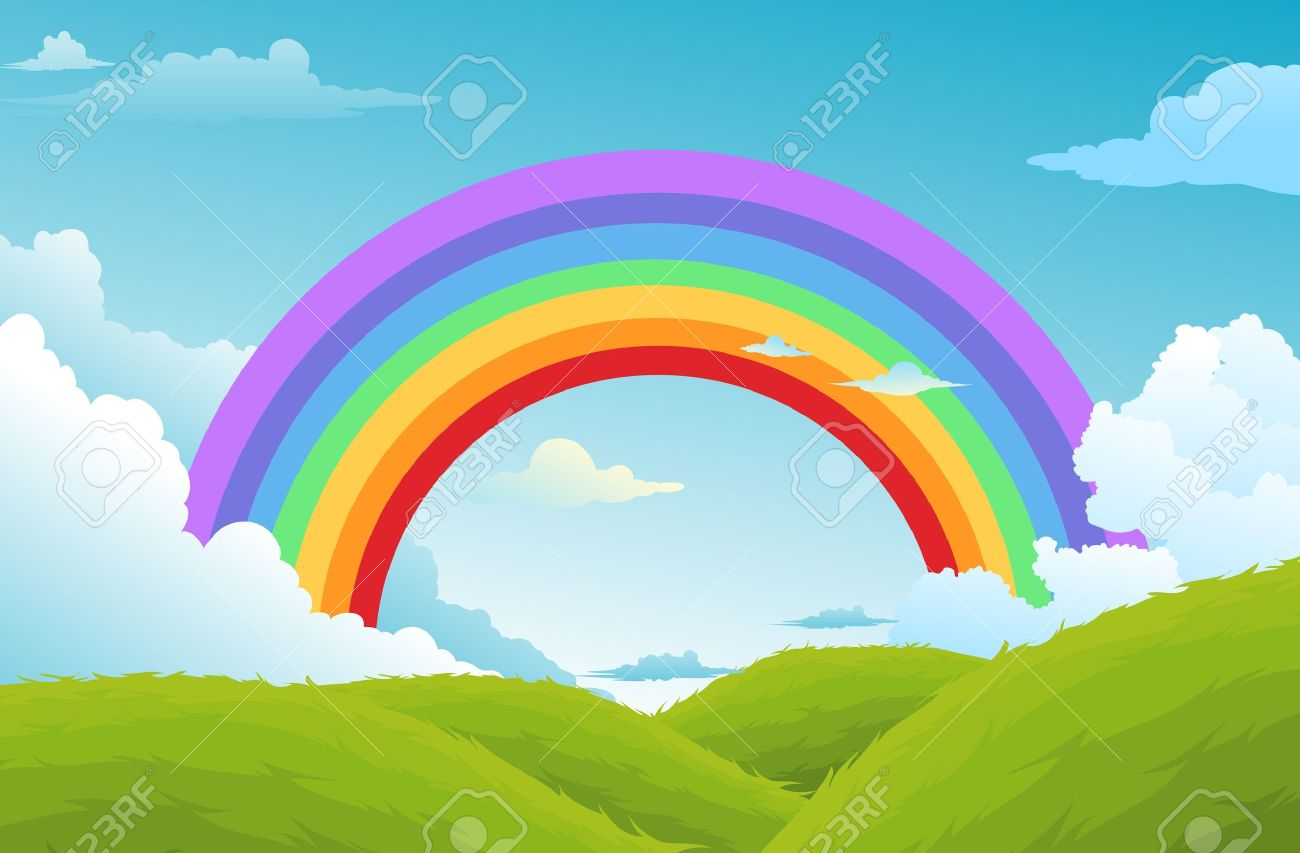Rainbow And Clouds In The Sky Background Royalty Free Cliparts     rainbow and clouds in the sky background Stock Vector   17848368