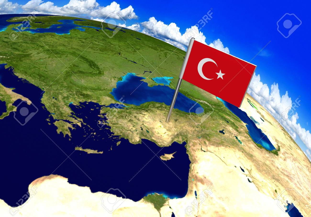 Flag Marker Over Country Of Turkey On World Map 3D Rendering     Flag marker over country of Turkey on world map 3D rendering  parts of this  image