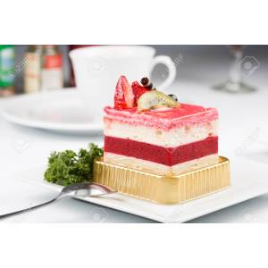 Cheery Strawberry Mousse Cake Recipe Easy Strawberry Mousse Cake Filling Recipe Stock Photo Strawberry Mousse Cake On Plate Strawberry Mousse Cake On Plate Stock