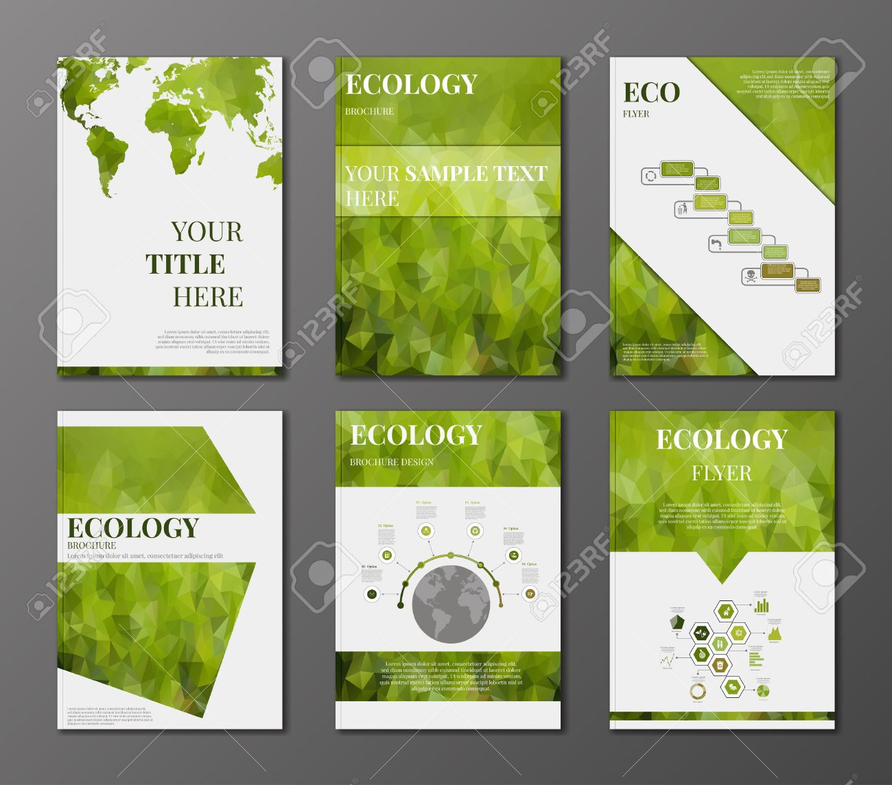 Vector Set Of Brochure Or Flyer Design Template  Applications     Vector   Vector set of brochure or flyer design template  Applications and  Online Services Infographic Concept  Infographic elements concerning to  ecology