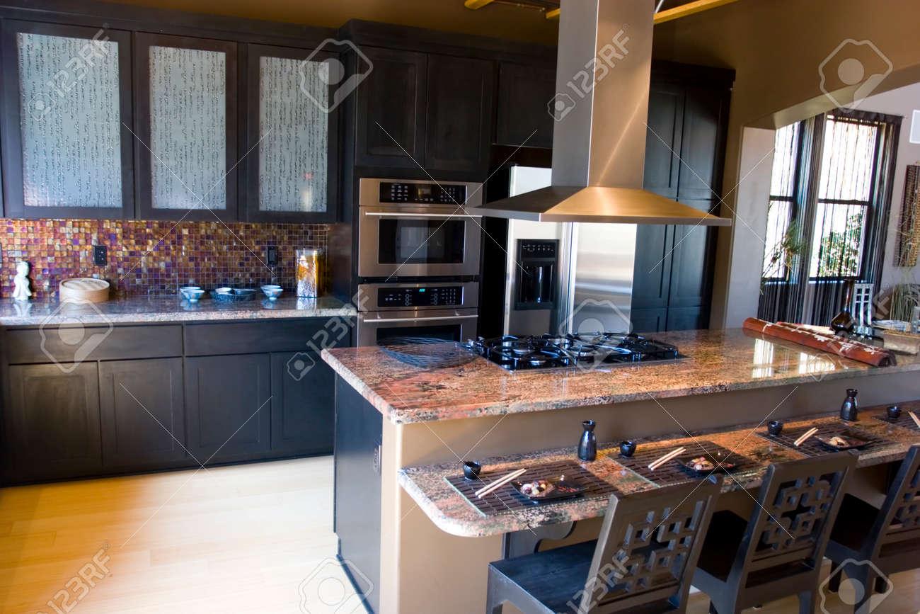 photo modern kitchen with granite countertops granite countertops kitchen Modern kitchen with granite countertops Stock Photo