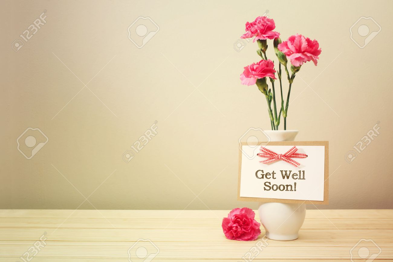 Calmly A Vase Stock Photo Get Well Soon Message Get Well Soon Message Pink Carnations A Vase Stock Get Well Soon Messages Business Get Well Soon Message Him Pink Carnations cards Get Well Soon Message