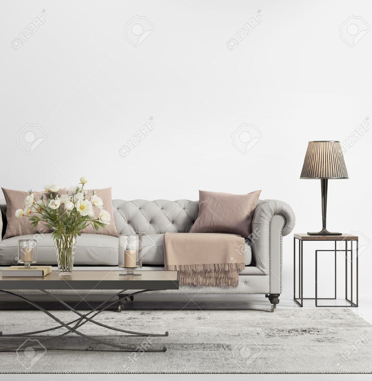 Contemporary Elegant Chic Living Room With Grey Tufted Sofa Stock Photo   47692410 U26